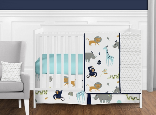 Turquoise And Navy Blue Safari Animal Mod Jungle Baby Boy Or Crib Bedding Set Without