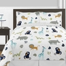 Turquoise and Navy Blue Safari Animal Mod Jungle Boy or Girl Full / Queen Kid Childrens Bedding Comforter Set by Sweet Jojo Designs - 3 pieces