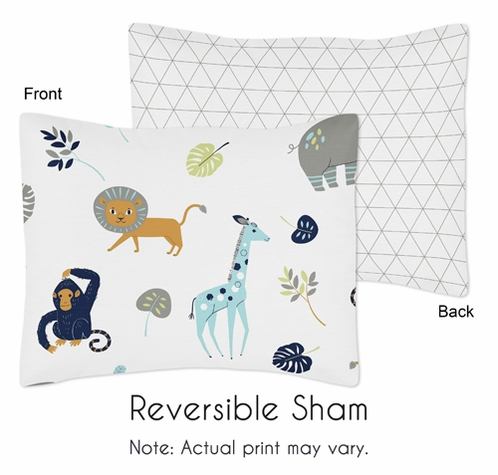 Turquoise and Navy Blue Safari Animal Standard Pillow Sham for Mod Jungle Collection by Sweet Jojo Designs - Click to enlarge
