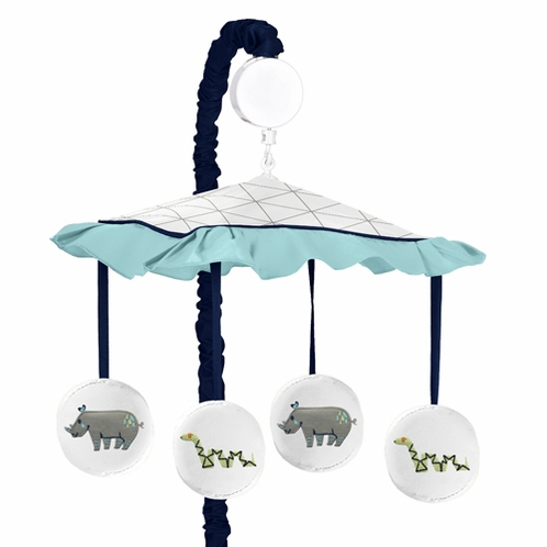 Turquoise and Navy Blue Safari Animal Musical Baby Crib Mobile for Mod Jungle Collection by Sweet Jojo Designs - Click to enlarge