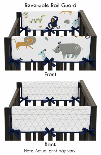 Turquoise and Navy Blue Safari Animal Side Crib Rail Guards Baby Teething Cover Protector Wrap for Mod Jungle Collection by Sweet Jojo Designs - Set of 2 - Click to enlarge