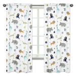 Turquoise and Navy Blue Safari Animal Window Treatment Panels Curtains for Mod Jungle Collection by Sweet Jojo Designs - Set of 2