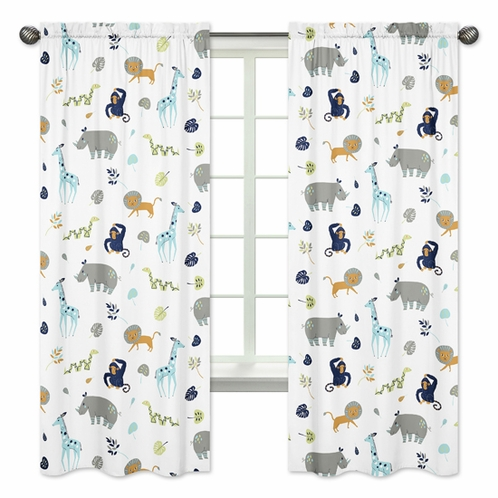 Turquoise and Navy Blue Safari Animal Window Treatment Panels Curtains for Mod Jungle Collection by Sweet Jojo Designs - Set of 2 - Click to enlarge