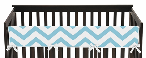 Turquoise and White Chevron Baby Crib Long Rail Guard Cover by Sweet Jojo Designs - Click to enlarge