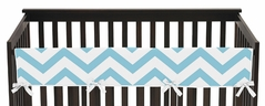 Turquoise and White Chevron Baby Crib Long Rail Guard Cover by Sweet Jojo Designs
