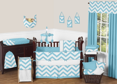 Turquoise and White Chevron ZigZag Baby Bedding - 9pc Crib Set by Sweet Jojo Designs - Click to enlarge