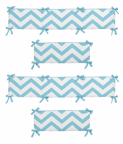 Turquoise and White Chevron Collection Crib Bumper by Sweet Jojo Designs - Click to enlarge