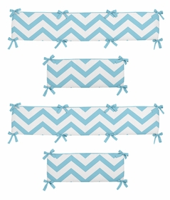 Turquoise and White Chevron Collection Crib Bumper by Sweet Jojo Designs