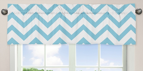 Turquoise and White Chevron Collection Zig Zag Window Valance - Click to enlarge