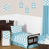 Turquoise and White Chevron Toddler Bedding - 5pc Set by Sweet Jojo Designs