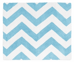 Turquoise and White Chevron Zig Zag Accent Floor Rug by Sweet Jojo Designs