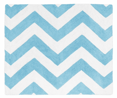 Turquoise and White Chevron Zig Zag Accent Floor Rug by Sweet Jojo Designs - Click to enlarge