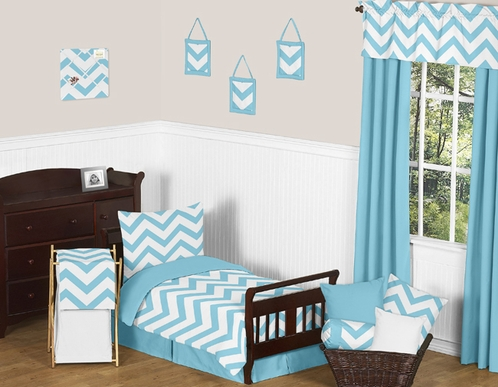 Turquoise and White Chevron Toddler Bedding - 5pc Set by Sweet Jojo Designs - Click to enlarge