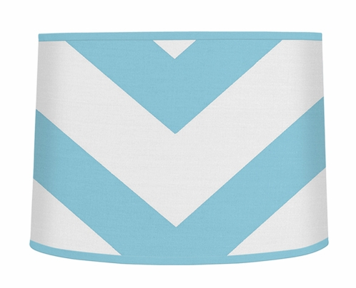 Turquoise and White Chevron ZigZag Lamp Shade by Sweet Jojo Designs - Click to enlarge