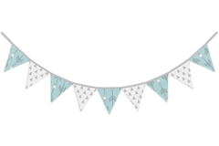 Turquoise Blue and Grey Arrow Fabric Pennant Flag Banner Bunting Nursery Baby Wall D�cor