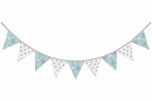Turquoise Blue and Grey Arrow Fabric Pennant Flag Banner Bunting Nursery Baby Wall Décor - Click to enlarge