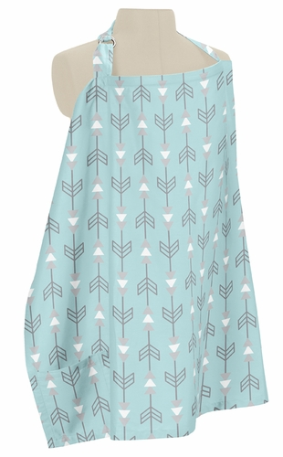 Turquoise Blue and Grey Arrow Infant Baby Breastfeeding Nursing Cover Up Apron by Sweet Jojo Designs - Click to enlarge