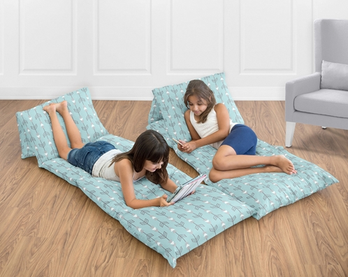 Turquoise Blue and Grey Arrow Kids Teen Floor Pillow Case Lounger Cushion Cover by Sweet Jojo Designs - Click to enlarge