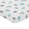 Turquoise Blue, Gray and White Bird Baby Fitted Mini Portable Crib Sheet for Earth and Sky Collection by Sweet Jojo Designs