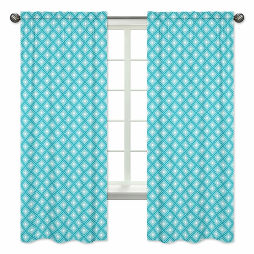 Turquoise Diamond Window Treatment Panels for Mod Elephant Collection by Sweet Jojo Designs - Set of 2 - Click to enlarge