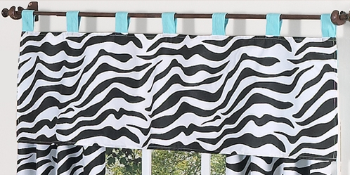 Turquoise Funky Zebra Window Valance by Sweet Jojo Designs - Click to enlarge