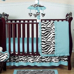 Turquoise Funky Zebra Baby Bedding - 4pc Crib Set