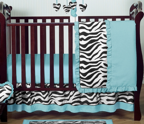 Turquoise Funky Zebra Baby Bedding - 4pc Crib Set - Click to enlarge