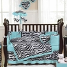Turquoise Funky Zebra Baby Bedding - 9 pc Crib Set