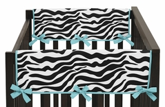 Turquoise Funky Zebra Baby Crib Side Rail Guard Covers by Sweet Jojo Designs - Set of 2