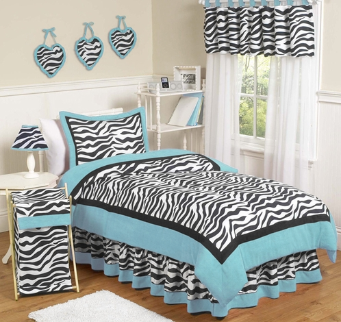 Turquoise Funky Zebra Childrens Bedding - 4 pc Twin Set - Click to enlarge