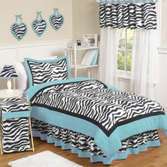 Turquoise Funky Zebra Teen Bedding - 3 pc Full / Queen Set