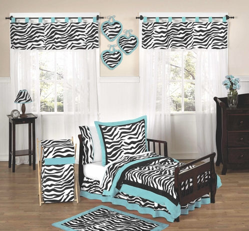 Turquoise Funky Zebra Toddler Bedding - 5pc Set - Click to enlarge