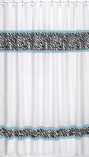 Turquoise Funky Zebra Kids Bathroom Fabric Bath Shower Curtain - Click to enlarge