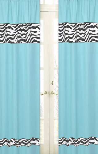 Turquoise Funky Zebra Zebra Window Treatment Panels - Set of 2 - Click to enlarge