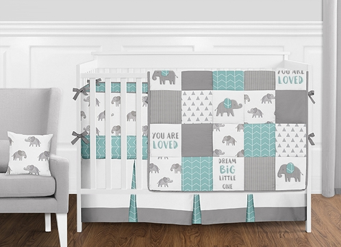 Turquoise, Grey and White Patchwork Gray Elephant Baby Boy or Girl Crib Bedding Set with Bumper by Sweet Jojo Designs - 9 pieces - Click to enlarge