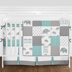 Turquoise, Grey and White Patchwork Gray Elephant Baby Boy or Girl Crib Bedding Set with Bumper by Sweet Jojo Designs - 9 pieces