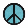 Turquoise Groovy Peace Sign Tie Dye Accent Floor Rug