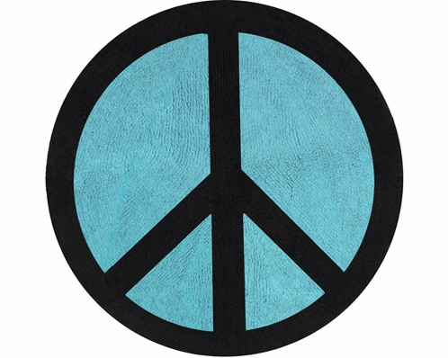 Turquoise Groovy Peace Sign Tie Dye Accent Floor Rug - Click to enlarge