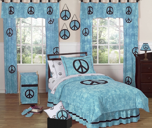 Turquoise Groovy Peace Sign Tie Dye Children's Bedding - 3 pc Full / Queen Set - Click to enlarge