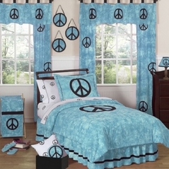 Turquoise Groovy Peace Sign Tie Dye Children's Bedding - 3 pc Full / Queen Set