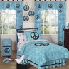 Turquoise Groovy Peace Sign Tie Dye Children's Bedding - 4 pc Twin Set