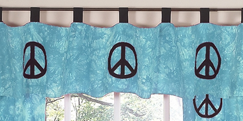 Turquoise Groovy Peace Sign Tie Dye Window Valance by Sweet Jojo Designs - Click to enlarge