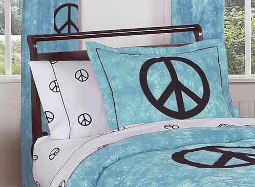 Turquoise Groovy Peace Sign Tie Dye Pillow Sham - Click to enlarge