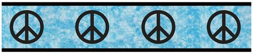 Turquoise Groovy Peace Sign Tie Dye Kids and Teens Wall Paper Border by Sweet Jojo Designs - Click to enlarge