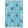 Turquoise Groovy Peace Sign Tie Dye Kids Bathroom Fabric Bath Shower Curtain