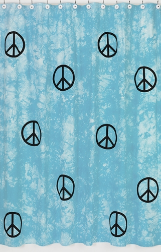 Turquoise Groovy Peace Sign Tie Dye Kids Bathroom Fabric Bath Shower Curtain - Click to enlarge