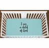Turquoise I am a Child of God Baby Boy Girl or Toddler Fitted Crib Sheet with Black Inspirational Quote by Sweet Jojo Designs