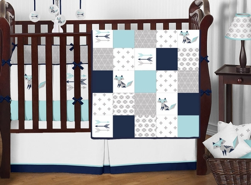 Turquoise, Navy Blue, Grey and White Woodland Fox Patchwork Boy Baby Crib Bedding Set with Bumper by Sweet Jojo Designs - 9 pieces - Click to enlarge