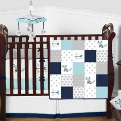 Turquoise, Navy Blue, Grey and White Woodland Fox Patchwork Boy Baby Crib Bedding Set with Bumper by Sweet Jojo Designs - 9 pieces