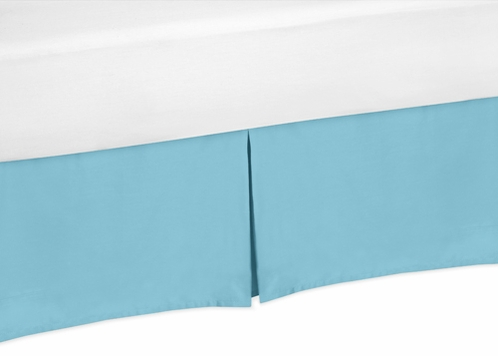 Turquoise King Bed Skirt for Turquoise and White Chevron Bedding Sets by Sweet Jojo Designs - Click to enlarge